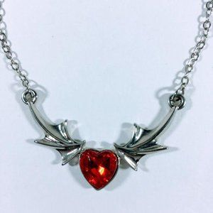 Red Silver Heart Necklace